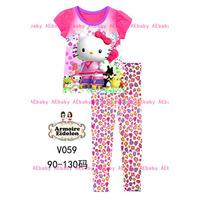 20th June Girls Frozen Clothing Set Children Pajamas Sets New 2014 Wholesale Kids Princess Elsa Short Sleeve Pijamas V009