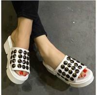 Free shipping women sandals new  waterproof sandals rivet thick simple Korean women sandals wedges shoes