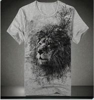 Free shipping Plus Size XXL-8XL dress tops cotton grey lion print brand mens casual T shirts fashion Desigual Costeing tops tees