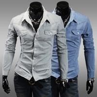Fashion vintage retro water wash finishing 100% cotton casual male slim long-sleeve denim shirt n12.45