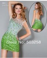 ACD69 Hot Sale Fashion Short/Mini Full Beaded Blue Crystal Shiny Backless Cocktail Dress 2013