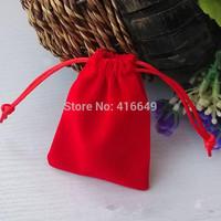 Free Shipping 100pcs/Lot 10X8cm High-Quality Red Velvet Drawstring Organza Pouch Bag/Jewelry Bag,Christmas/Wedding Gift Bag