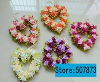 Love the wreath Simulation flower Silk Head Artificial Flowers Wedding party Flower Home Decor The heart-shaped wreath