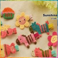 Tiaras for girls kids baby hair clips kids hairpins girl crochet animal hair accessories handmade accessory #8z021 50pcs/lot