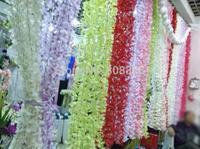 "10Pcs 180cm/70.87"" Length Artificial Silk Flower Rattan Simulation Hydrangea Vine Wedding Background Hanging Rattans Five Colors"