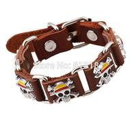 New 2014 Fashion Punk Alloy Genuine leather Bracelet Pirate Skull Bracelet With Wrist strap Buckle Silver color Men Jewelry