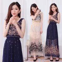 2014 new arrive casual long dress lady summer flower print new dresses M,L 9582