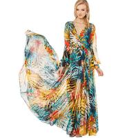 2014 Summer Dress Tropical Rainforest Flowery Plant Flowers Printing  Large  Long Sleeve Perspective Belt Maxi Dresses CE05-08