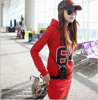 2014 new winter skirt hooded casual sanding thick fleece sweater sports suit Free shiping