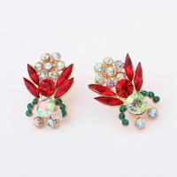 Red Crystal Rhinestones Spring color Stud Earrings CE063