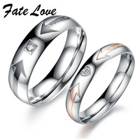 Romantic  Luxury Couple Jewelry stainless steel ring AAA  Swiss CZ diamond ring for Wedding Engagement 415