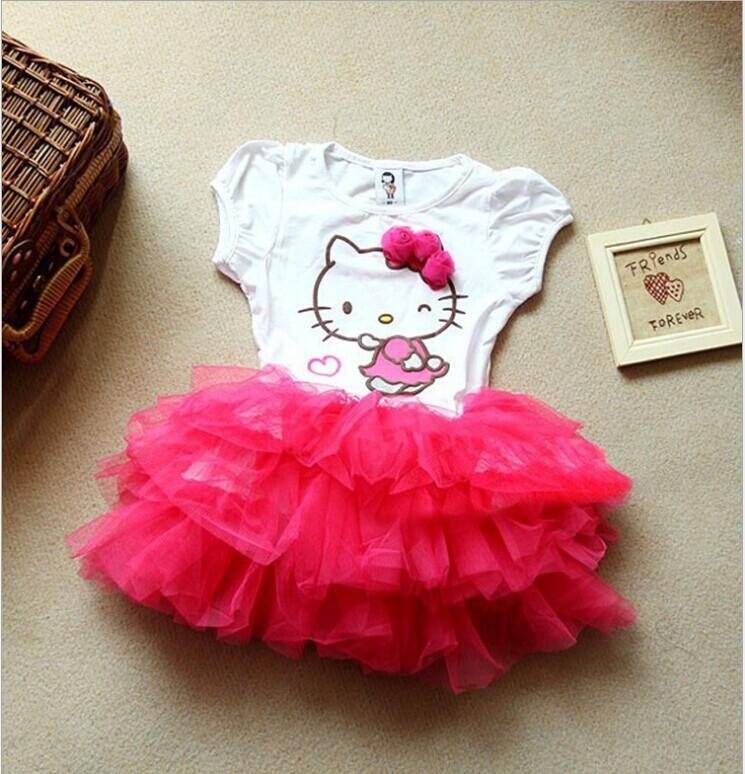 Retail 2014 Summer New style children Dress Girls lovely Hello kitty Lace short sleeves Kids princess dress(China (Mainland))
