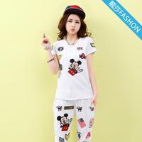 2014 new women's summer short-sleeved Korean yards cartoon pant leisure suit (T-shirt + pant)