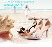 New Womens Spring Summer Fashion High Heels Bind Shoes golden Sandals Spike