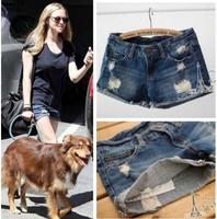 new 2014 women shorts fashion hole denim shorts feminino jeans shorts women's short saia Wholesale casual pants blue S/M/L/XL