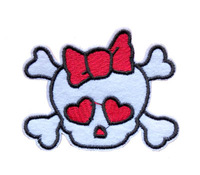 Lovely Skull Girl Head Embroidery Cloth Patch Sticker, Skull with Bowknot Path, Children Cloth DIY Accessories Wholesale