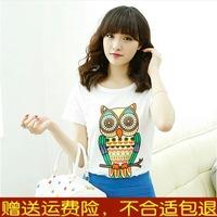 Russia Brazil Owl short-sleeve T-shirt female short-sleeve 2014 women's print loose summer female t-shirt Wholesale Promotion