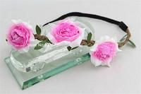 5pcs Fashion Girl's Rose flowers bohmian hair accessories headbands  Garland Flower Floral headbands Hair Ornament Free Shipping