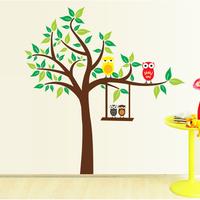 5 Set/lot Owl Big Tree Cartoon Zoo Kid Room Decor Decals Vinyl & Happy Childhood Life Removable Stickers