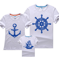 2014 NEW Free shipping fashion family set design navy style summer short sleeve t shirt clothes for mother child 100% cotton