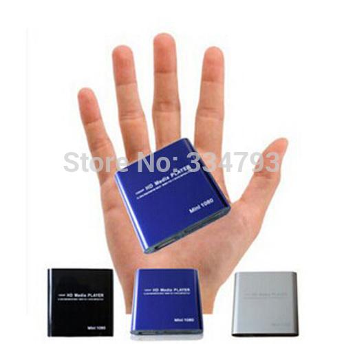 MINI Full HD 1080P USB External HDD Media Player With SD MMC Card Reader HOST OTG Support MKV H.264 RMVB DVD MPEG Blue Color(China (Mainland))