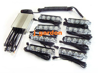 car light source 8 x 4  LED Emergency Strobe Light Grill LED all Blue Light JD84 car styling Light Bar