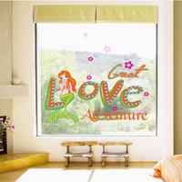 5 Set/lot Great Love Adventure Mermaid Wall Paper Glass Stickers Princess Dream Bedroom Living Room Home Decor