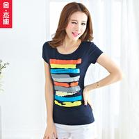 Russia Brazil 2014 spring plus size slim stripe top women's t-shirt short-sleeve female Wholesale Promotion
