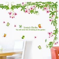 5 Set/lot Hot Sales Flower Wisteria Dream Garden Stickers Green+Pink TV Sofa Background Kitchen Home Decor