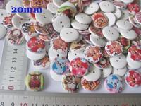 120PCS Mixed Colors 20mm Cartoon Owl Pattern Wooden Buttons 2 Holes Scrapbooking Crafts