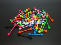 100pcs 1.6*19*5mm New Neon Colors Stainless Steel Balls Barbell Tongue Ring Body Piercing Jewelry Wholesale Free Shipping