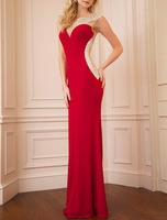 Real Photos Jersey Fabric Red Color See Through Sexy Elegance Design Long Dinner Dress OL102446