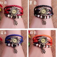 Womens Lucky Clover Bracelet Wrap Wrist Watch Quartz Movement Watches More Color Choice