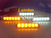New 8 Flash Patterns 4 x 6 LED (24LED) Emergency Amber/White Strobe Grill Light
