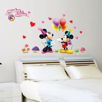 1 set 30*48 inch Kids Wall Stickers Happy Mickey And Minnie Wallpaper Cute Cartoon Wall Decals Kid Room Kindergarten Wall Decor