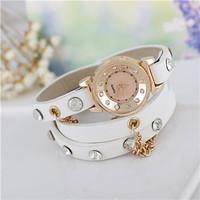 Special Offer! Promotional Popular Diamond Studded Hawaiian Casual Fashion Long Chain Leather Bracelet Women Quartz Watch