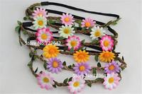 10pcs New Bohemia Braided Sunflower Headband Hair Bands Strap Flower Hair Wreath Beach Women/Girl Hair Accessories Free Shipping