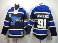 free shipping 2014 St. Louis Blues ice hockey hoody #91 Vladimir Tarasenko Men's Jersey Hockey Hoody Sweatshirts with size:m-xxl