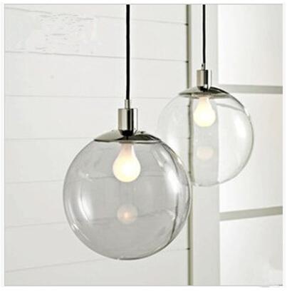 disegnatore luci sfera di cristallo ristorante continentale bar singolo minimalista luce palla di vetro pendente sfera di vetro trasparente