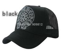 50pcs/lot Free Shipping Horseshoe Rhinestone truck cap Tennis hats Mesh hat Snapbacks caps, hat circumference 55--60cm 2 color