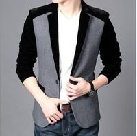 Hot Sale Men's Velvet Blazer Slim Fit Corduroy Casual Suit Jacket Winter Patchwork Fashion Blazers Men Plus Size M-6XL FS-035