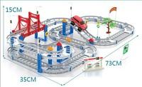 New 2014 electric 88pcs/set  Railroad train track toys for Children  rail car Railway Double viaduct Thomas train cars