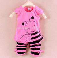 New 2014 Summer Baby / Kids / Infant Cotton Bamboo Fiber Sleeveless Clothing Set, Girls Cartoon Bee Vest + Stripe Pants Set _25