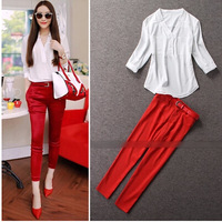 2pcs Women Clothing Set 2014 Europe Fashion Winter Women's white shirt+red pant Drop Shipping