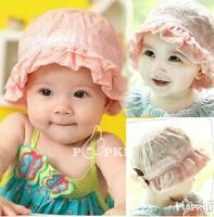 Free Size 1 piece summer cotton Beret Girl Baby Caps, lace princess sunbonnet sun Hat Children baseball Kids newborn Hat