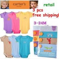 new 2014 carters baby bodysuits 3pcs/lot summer newborn baby carters bodysuits baby girl overall body para bebe clothing set