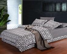 Preto branco jogo de cama de algodão folha de capa de edredão fronhas rainha cheia de cama todinha(China (Mainland))