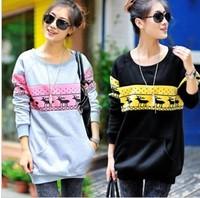 Maternity clothing Autumn Winter plus velvet sweatshirt long-sleeve T-shirt outerwear Hoodie Topcoat