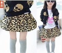2014 children's spring clothing girls leopard print tutu kid's skirt short skirt bow fashion layered tutu D55