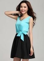 Free Shipping Korean Fashion Hot Sale Color Block Bowknot Belt Sleeveless Chiffon Dress Sky Blue/Yellow